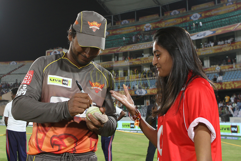 Kumar Sangakkara signs the match ball during match 3 of of the Pepsi Indian Premier League between The Sunrisers Hyderabad and The Pune Warriors held at the Rajiv Gandhi International  Stadium, Hyderabad  on the 5th April 2013..Photo by Ron Gaunt-IPL-SPORTZPICS..Use of this image is subject to the terms and conditions as outlined by the BCCI. These terms can be found by following this link:..http://www.sportzpics.co.za/image/I0000SoRagM2cIEc