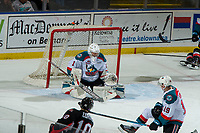 KELOWNA, CANADA - JANUARY 4: James Porter #1 of the Kelowna Rockets makes a save against the Prince George Cougars  on January 4, 2019 at Prospera Place in Kelowna, British Columbia, Canada.  (Photo by Marissa Baecker/Shoot the Breeze)