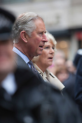 © Licensed to London News Pictures. 03/06/2012. London, England. HRH The Prince Charles and Camilla, Duchess of Cornwall attend the Piccadilly Big Jubilee Lunch and sing the National Anthem. The Royal Jubilee celebrations. Great Britain is celebrating the 60th  anniversary of the country's Monarch HRH Queen Elizabeth II accession to the throne this weekend Photo credit : Bettina Strenske/LNP