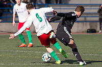 Trival Valderas's Noguera and Real Madrid Castilla´s  Alvaro Medran during 2014-15 Spanish Second Division B match between Trival Valderas and Real Madrid Castilla at La Canaleja stadium in Alcorcon, Madrid, Spain. February 01, 2015. (ALTERPHOTOS/Luis Fernandez)