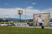 A Lidl logo and ad on the outskirts of a rural Slovenian town, on 18th June 2018, in Bled, Slovenia.