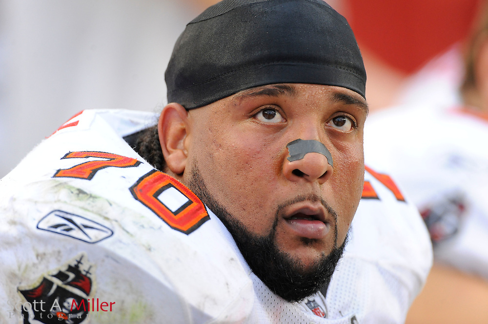 Tampa Bay Buccaneers tackle Donald Penn (70) during the Bucs game against the Atlanta Falcons at Raymond James Stadium on Sept. 25, 2011 in Tampa, FL...©2011 Scott A. Miller