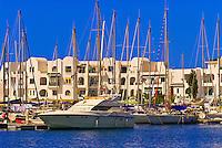 Sailboats in marina, Port El Kntaoui, Tunisia