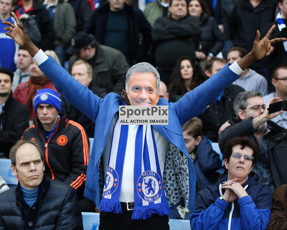 A man in a mourinho mask During Chelsea vs Sunderland on Saturday the 19th December 2015.