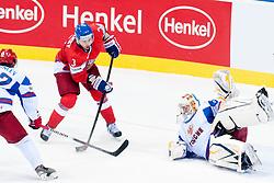 Marek Zidlicky of Czech Republic vs Konstantin Barulin of Russia during ice-hockey match between Czech Republic and Russia of Group E in Qualifying Round of IIHF 2011 World Championship Slovakia, on May 8, 2011 in Orange Arena, Bratislava, Slovakia. (Photo by Matic Klansek Velej / Sportida)