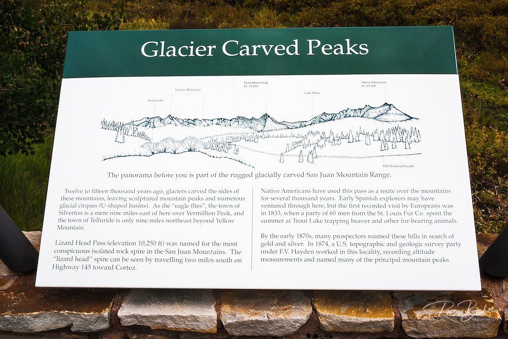 Interpretive sign on Lizard Head Pass,Uncompahgre National Forest, Colorado