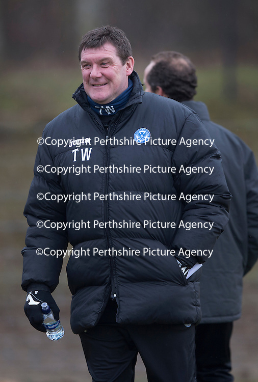 St Johnstone Training....13.02.15<br /> Manager Tommy Wright pictured during training this morning at McDiarmid Park ahead of tomorrow's game against Celtic<br /> Picture by Graeme Hart.<br /> Copyright Perthshire Picture Agency<br /> Tel: 01738 623350  Mobile: 07990 594431