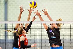 Katja Mihevc and Olivera Kostic of Calcit Ljubljana during the volleyball match between Calcit Ljubljana and Nova KBM Branik at 2017 Slovenian Women Cup Final, on March 18th, 2017, SD Planina, Kranj, Slovenia. Photo by Grega Valancic / Sportida