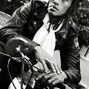 Portrait of Mohamed on his very rare Norton Dominator taken in Jakarta, Indonesia .