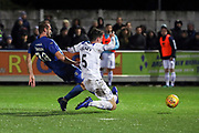 AFC Wimbledon striker James Hanson (18) with a shot on goal during the EFL Sky Bet League 1 match between AFC Wimbledon and Rochdale at the Cherry Red Records Stadium, Kingston, England on 8 December 2018.