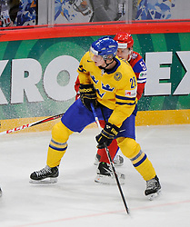 11.05.2012, Ericsson Globe, Stockholm, SWE, IIHF, Eishockey WM, Russland (RUS) vs Schweden (SWE), im Bild, Sverige Sweden 28 Jonas Brodin (Fa¨rjestads BK) Russia 52 Sergei Shirokov (CSKA Moscow) // during the IIHF Icehockey World Championship Game between Russia (RUS) and Sweden (SWE) at the Ericsson Globe, Stockholm, Sweden on 2012/05/11. EXPA Pictures © 2012, PhotoCredit: EXPA/ PicAgency Skycam/ Simone Syversson..***** ATTENTION - OUT OF SWE *****