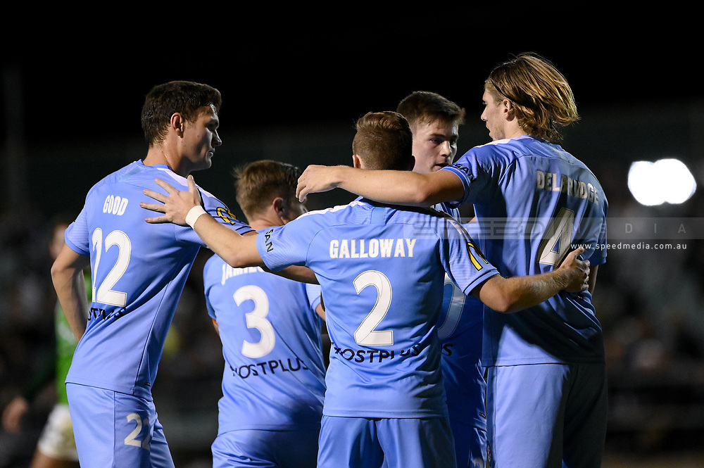 SYDNEY, AUSTRALIA - AUGUST 21: Melbourne City celebrate a goal during the FFA Cup round of 16 soccer match between Marconi Stallions FC and Melbourne City FC on August 21, 2019 at Marconi Stadium in Sydney, Australia. (Photo by Speed Media/Icon Sportswire)