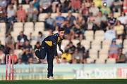 Andrew Salter of Glamorgan bowling during the Vitality T20 Blast South Group match between Hampshire County Cricket Club and Glamorgan County Cricket Club at the Ageas Bowl, Southampton, United Kingdom on 2 August 2019.