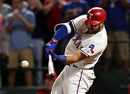 May 12, 2017 - Arlington, TX, USA - Texas Rangers' Joey Gallo (13) connects for a three-run home run in the ninth inning to beat the Oakland Athletics 5-2 on Friday, May 12, 2017 at Globe Life Park in Arlington, Texas. (Credit Image: © Richard W. Rodriguez/TNS via ZUMA Wire)