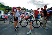 Head down, up and coming American rider Tejay Van Garderen gasps for oxygen at the end of 6's 1200m hilltop climbing finish to the ski-resort town of Malbun.  He finished fourth in the uphill sprint won by Borut Bozic.  He also finished second to Fabian Cancellara in the race's opening  prologue and is rumored to have been tapped for the HTC TDF squad.