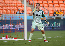 July 18, 2018 - Houston, TX, U.S. - HOUSTON, TX - JULY 18:  Sporting Kansas City goalkeeper Tim Melia (29) yells out to his defenders during the US Open Cup Quarterfinal soccer match between Sporting KC and Houston Dynamo on July 18, 2018 at BBVA Compass Stadium in Houston, Texas. (Photo by Leslie Plaza Johnson/Icon Sportswire) (Credit Image: © Leslie Plaza Johnson/Icon SMI via ZUMA Press)