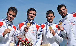 ARNAUD HYBOIS & ETIENNE HUBERT & SEBASTIEN JOUVE & PHILLIPPE COLIN (ALL FRANCE) POSE WITH GOLD MEDALS IN MEN'S K4 1000 METERS FINAL A RACE DURING 2010 ICF KAYAK SPRINT WORLD CHAMPIONSHIPS ON MALTA LAKE IN POZNAN, POLAND...POLAND , POZNAN , AUGUST 21, 2010..( PHOTO BY ADAM NURKIEWICZ / MEDIASPORT ).
