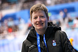 GANGNEUNG, SOUTH KOREA - FEBRUARY 17: Natasa Pagon, linesman of Slovenia, during the ice hockey match between Slovenia and Slovakia in  the Preliminary Round on day eight of the PyeongChang 2018 Winter Olympic Games at Kwangdong Hockey Centre on February 17, 2018 in Gangneung, South Korea. Photo by Kim Jong-man / Sportida