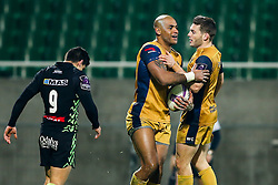 Tom Varndell of Bristol Rugby celebrates after he scores his try of the match - Rogan Thomson/JMP - 16/12/2016 - RUGBY UNION - Stade du Hameau - Pau, France - Pau v Bristol Rugby - EPCR Challenge Cup.