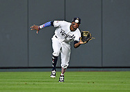 Kansas City Royals center fielder Rosell Herrera (7) runs in to catch a fly ball in the seventh inning against the Cleveland Indians at Kauffman Stadium.