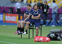 Football - UEFA Euro 2012 - England Training<br /> Andrea Pirlo of Italy relaxes before their training session at the Olympic Stadium, Kiev, Ukraine