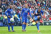 Cardiff City's Kenneth Zohore shoots from a free kick during the EFL Sky Bet Championship match between Cardiff City and Burton Albion at the Cardiff City Stadium, Cardiff, Wales on 30 March 2018. Picture by John Potts.