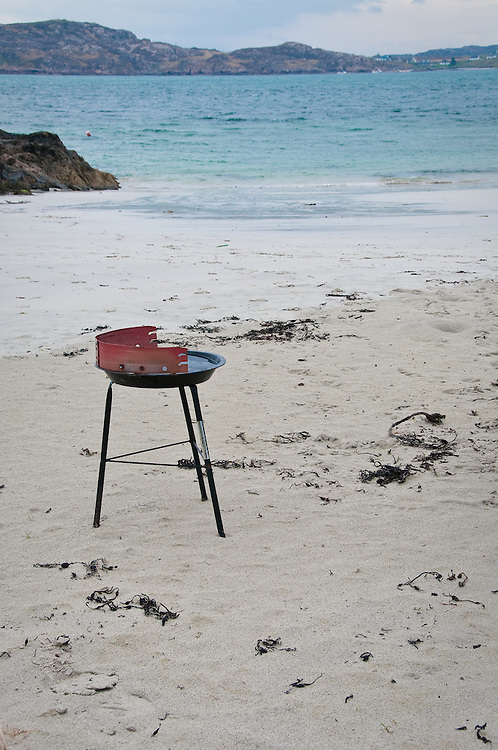 Old barbeque on the beach in Iona, Scotland