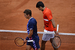 May 30, 2019 - Paris, France - Novak Djokovic of Serbia and Henri Laaksonen of Switzerland following their mens singles second round match during Day five of the 2019 French Open at Roland Garros on May 30, 2019 in Paris, France. (Credit Image: © Ibrahim Ezzat/NurPhoto via ZUMA Press)