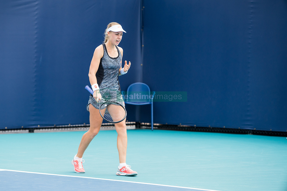 March 18, 2019 - Miami Gardens, FL, U.S. - MIAMI GARDENS, FL - MARCH 18: Anna Blinkova (RUS) in action during the Miami Open on March 18, 2019 at Hard Rock Stadium in Miami Gardens, FL. (Photo by Aaron Gilbert/Icon Sportswire) (Credit Image: © Aaron Gilbert/Icon SMI via ZUMA Press)