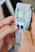 Neutral pH-7 displayed on a digital pH measuring device (ECO pH pH-Pocket-Tester by Step Systems)