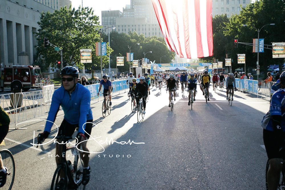OCT 03, 2011 (ST LOUIS) -- Riders starting the 50 mile course at the 2011 Pedal the Cause event in downtown St. Louis.  The ride had 1,300 riders and has raised over $1.25 million in donations to funder cancer research at Washington University, Barnes Jewish Medical Center and the St Louis Children's Hospital.  All proceeds raised during the ride stay in St Louis.
