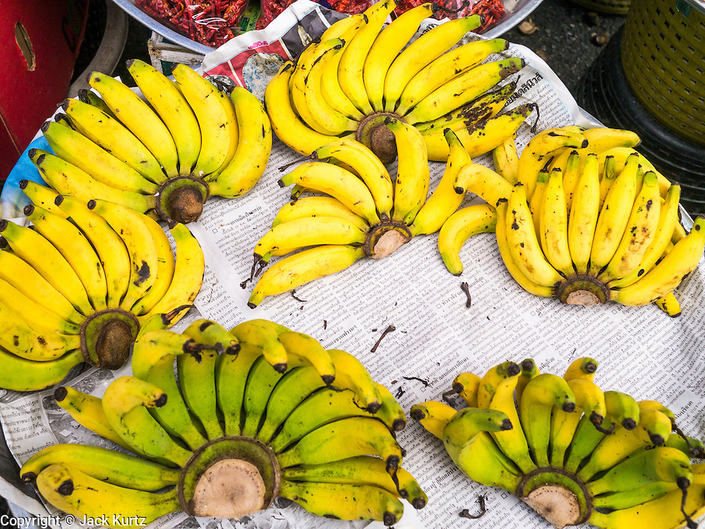02 NOVEMBER 2012 - HAT YAI, SONGKHLA, THAILAND: Bananas for sale in Hat Yai, Songkhla, Thailand. Hat Yai is the commercial center of south Thailand and a popular weekend vacation destination for Malaysian and Singaporean tourists.    PHOTO BY JACK KURTZ