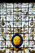 Stained glass details with the Medici crest, Biblioteca Medicea Laurenziana, Florence, Italy