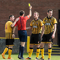 Picture by Christian Cooksey/CookseyPix.com.<br /> All rights reserved. For full terms and conditions see www.cookseypix.com<br /> <br /> Juniors - Auchinleck Talbot v Glenafton Athletic. Referee Steven Reid books Auchinleck's Mark Campbell.