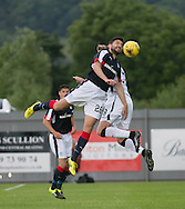 Dundee&rsquo;s Kostadin Gadzhalov oujumps Dumbarton's Robert Thomson - Dumbarton v Dundee, pre-season friendly at the Cheaper Insurance Direct Stadium, Dumbarton<br /> <br />  - &copy; David Young - www.davidyoungphoto.co.uk - email: davidyoungphoto@gmail.com
