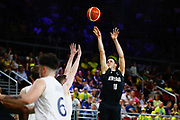 Tom Abercrombie of New Zealand takes a three pointer during the Men's Bronze Medal Game between the New Zealand Tall Blacks and Scotland. Gold Coast 2018 Commonwealth Games, Basketball, Gold Coast Convention & Exhibition Centre, Gold Coast, Australia. 15 April 2018 © Copyright Photo: Anthony Au-Yeung / www.photosport.nz