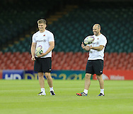 Owen Farrell and Charlie Hodgson of Saracens pictured during training ahead of the Heineken Cup Final at the Millennium Stadium, Cardiff<br /> Picture by Michael Whitefoot/Focus Images Ltd 07969 898192<br /> 24/05/2014