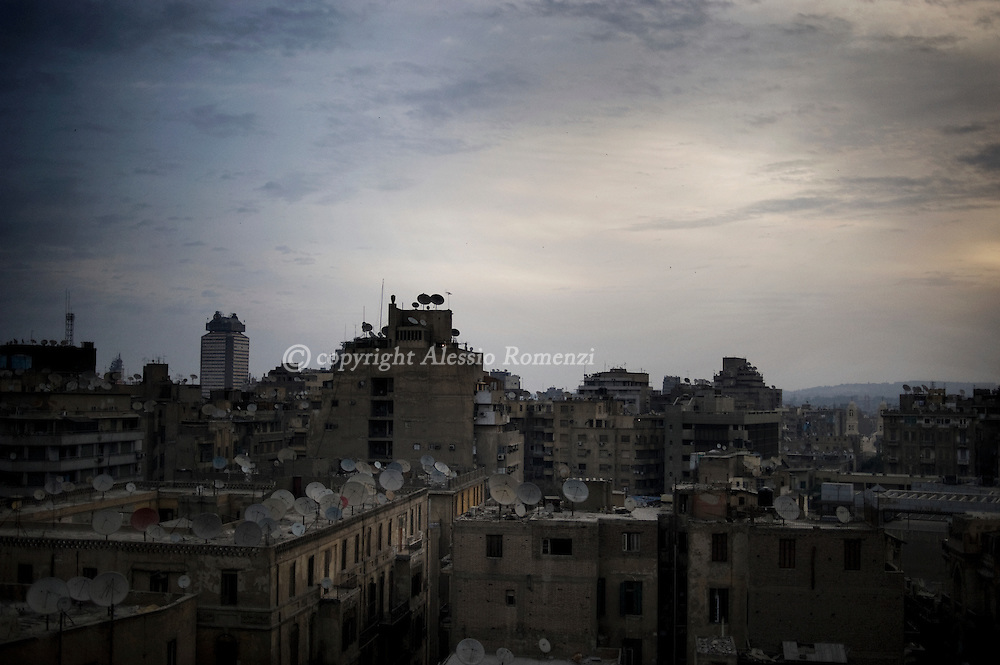 Landscape of Cairo around Tahrir square in Cairo on February 5, 2010.© ALESSIO ROMENZI