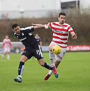 Dundee&rsquo;s Kane Hemmings and Hamilton&rsquo;s Lucas Tagliapietra - Hamilton v Dundee, Ladbrokes Scottish Premiership at New Douglas Park<br />  <br />  - &copy; David Young - www.davidyoungphoto.co.uk - email: davidyoungphoto@gmail.com