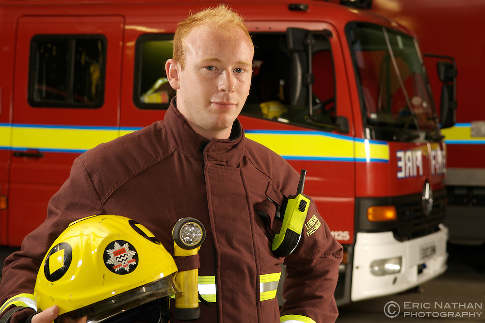 Portrait of a London Fire Brigade Fireman.