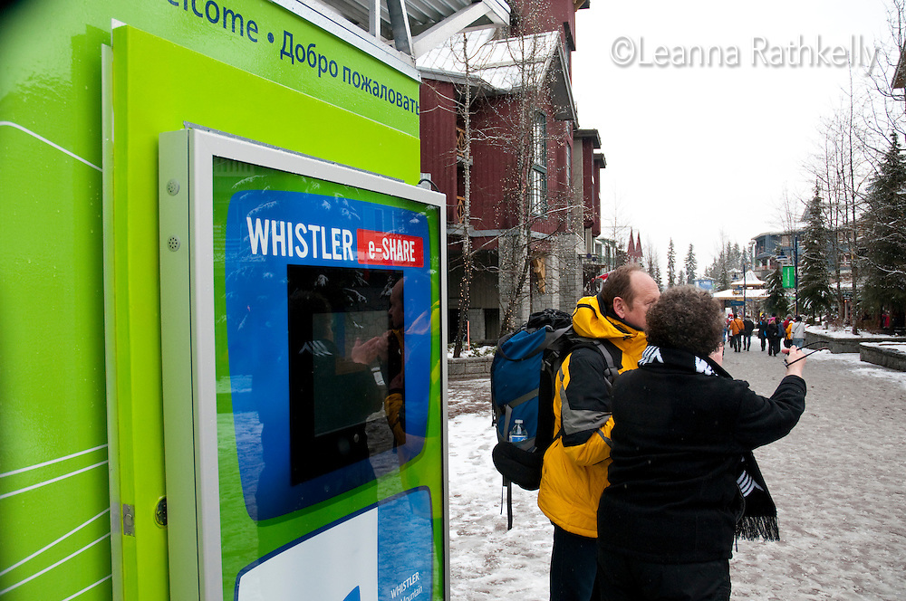 Throughout Whistler e-share booths allow visitors to send a note and photo home during the 2010 Olympic Winter Games in Whistler, BC Canada.