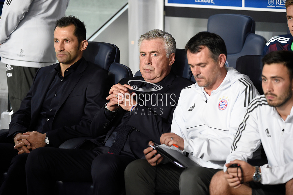 Italian coach Carlo Ancelotti of Bayern Munich with assistants Willy Sagnol and Davide Ancelotti prior to the UEFA Champions League, Group B football match between Paris Saint-Germain and Bayern Munich on September 27, 2017 at Parc des Princes stadium in Paris, France - Photo Jean Marie Hervio / Regamedia / ProSportsImages / DPPI
