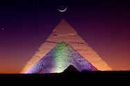 Gizeh Pyramids archaeological sites, Sound and light show, Cairo, Egypt