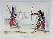Combat of the Yuracaré Indians of Bolivia Hand sketched From the book 'Voyage dans l'Amérique Méridionale' [Journey to South America: (Brazil, the eastern republic of Uruguay, the Argentine Republic, Patagonia, the republic of Chile, the republic of Bolivia, the republic of Peru), executed during the years 1826 - 1833] 3rd volume By: Orbigny, Alcide Dessalines d', d'Orbigny, 1802-1857; Montagne, Jean François Camille, 1784-1866; Martius, Karl Friedrich Philipp von, 1794-1868 Published Paris :Chez Pitois-Levrault et c.e ... ;1835-1847