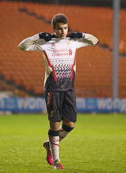 BLACKPOOL, ENGLAND - Wednesday, December 18, 2013: Liverpool's Pedro Chirivella looks dejected after missing his side's fifth penalty against Blackpool to leave the score 3-2 during the FA Youth Cup 3rd Round match at Bloomfield Road. (Pic by David Rawcliffe/Propaganda)
