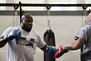 DALLAS, TX - MAY 11:  Derrick Lewis holds an open workout for the fans and media at Fortis MMA on May 11, 2017 in Dallas, Texas. (Photo by Cooper Neill/Zuffa LLC/Zuffa LLC via Getty Images) *** Local Caption *** Derrick Lewis