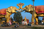 Wat Dong Ngu Chok Buraparam is a recently constructed temple with extraordinary and surreal statues of elephants surrounding the entrance and main temple.
