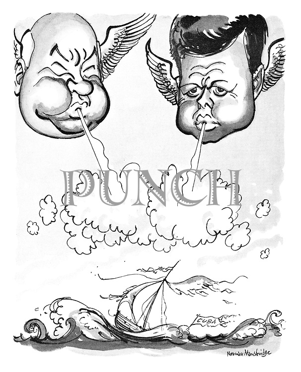 (The heads of Nikita Khrushchev and John F Kennedy as mythological characters representing winds blowing at the wrecked ship of Cuba)
