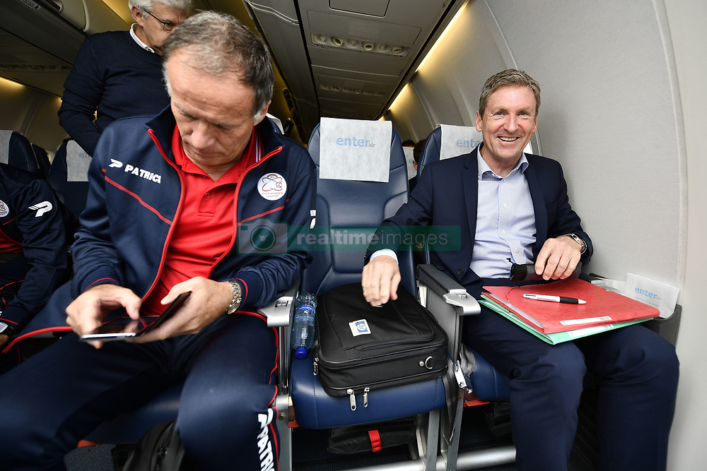 September 27, 2017 - Oostende, BELGIUM - Essevee's assistant coach Eddy Van den Berge and Essevee's head coach Francky Dury pictured before the departure of Belgian first league soccer team Zulte Waregem, in Oostende airport for Roma, Italy, Wednesday 27 September 2017. Tomorrow Zulte plays the second game of the group stage (Group K) of the UEFA Europa League competition against Lazio in Roma. BELGA PHOTO YORICK JANSENS (Credit Image: © Yorick Jansens/Belga via ZUMA Press)