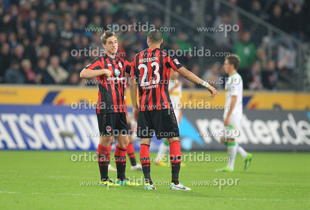 27.10.2013, Borussia Park, Moenchengladbach, GER, 1. FBL, Borussia Moenchengladbach vs Eintracht Frankfurt, 10. Runde, im Bild Bastian Oczipka #6 (Eintracht Frankfurt) diskutiert mit Anderson #23 (Eintracht Frankfurt) nach dem 4:1, Enttaeuschung, Pech, Trauer, negativ // during the German Bundesliga 10th round match between Borussia Moenchengladbach and Eintracht Frankfurt at the Borussia Park in Moenchengladbach, Germany on 2013/10/27. EXPA Pictures &copy; 2013, PhotoCredit: EXPA/ Eibner-Pressefoto/ Schueler<br /> <br /> *****ATTENTION - OUT of GER*****